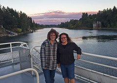 Eileen & Liz at sunset aboard Portland Spirit (Liz Satter) Tags: portland or oregon portlandspirit willametteriver sunset