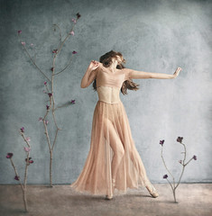 Unwritable Girl (Michelle.A.M.) Tags: pointe dance ballet ballerina hair movement legs point whimsical toe serene mysterious emotion expressive branches flowers floral nature indoor studio chiffon hands expression release graceful painterly inspired girl