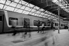 Ghost Footsteps 2 (annemcgr) Tags: street streetphotography trainstation pearsestation dublin motion slowmotion ghost blur monochrome blackwhite fineartphotography annemcgrath