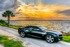 45th Anniversary Chevrolet Camaro (cmh photographs) Tags: camaro chevrolet chevy sunset 45th anniversary palmtree car palm tree ocean bay water automobile color sun clouds 45thanniversarycamaro nikon d7100 florida