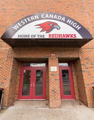 Home of the Redhawks (Jerry Bowley) Tags: highschool redhawks school wchs wessterncanadahighschool doors