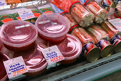 Red caviar (ikura) and crab meats in the Kuznechny market, Saint Petersburg, Russia (inchiki tour) Tags: travel foods photo europe market russia crab saintpetersburg   ikura leningrad  salmoncaviar 2014 salmonroe   kuznechny   vladimirskaya   redcaviar
