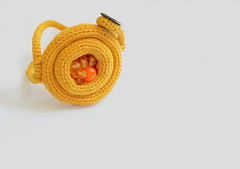 crochet bracelet - bird nest (PratinArt) Tags: abstract yellow beads 3d metallic jewelry yarn bracelet mustard fiberart freeformcrochet mirsini handmadejewelries pratina pratinart