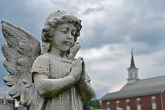 Near the Church (MTSOfan) Tags: sculpture church cemetery statue angel clouds wings child headstone prayer praying steeple cherub posture