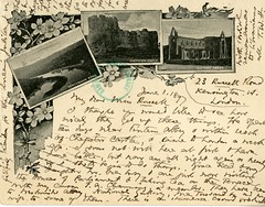 Handwritten postcard to Etta Russell, 1897 June 1 (Cambridge Room at the Cambridge Public Library) Tags: cambridgemass mass londonengland letterscorrespondence authorsmassachusettscambridge cambridgepubliclibrarycambridge russelletta1857 higginsonthomaswentworth18231911