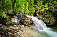 Part of Nature (Dream Rebellion) Tags: wood wild portrait people man nature water forest self river landscape rocks rivire human foret homme
