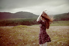 Safe travels, don't die... 28/52 (Mire ) Tags: trees portrait woman love nature girl self dress emotion longhair windy hills soul redhair emotive