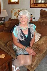Woman On The Edge (Laurette Victoria) Tags: woman silver necklace dress sofa laurette