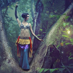'Forest Twilight' (Natasha Root Photography) Tags: natasharootphotography painterly imagine create inspire fantasy trbalbellydance fae twilight forest fairy dancer rich color dark tree allegory fineartphotography fineart light