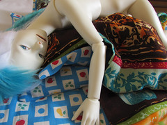 sleeping beauty (tarengil) Tags: asian doll abjd bjd dollmore zaoll luv bed feather cushion pillow ws white skin resin sleep girl blue brown