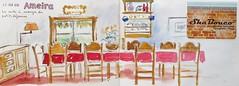 un petit voyage en Algarve. Portugal: N°7 (geneterre69) Tags: portugal rouge aquarelle algarve chaises intérieur salleàmanger