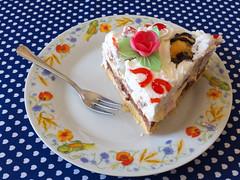 0997 - Torta (Diego Rosato) Tags: torta cake rosa rose still life fetta piece forchetta fork compleanno birthday fuji x30 gimp piatto dish bignè panna sainthonoré