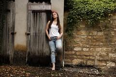 Leslie. (Nicolas Fourny photographie) Tags: canon 600d sigma 18200 model brunette beautifulbrunette beautifulgirl beautifulwoman cute gorgeous jeans bandana nakedfeet longhair beautifulhair outdoor sexy bestportraitsaoi