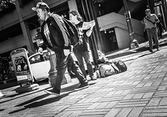 Street Life (TMimages PDX) Tags: iphoneography photography image photo photograph streetscene fineartphotography geotagged people urban city street streetphotography portland pacificnorthwest sidewalk pedestrians buildings avenue road blackandwhite monochrome vignette