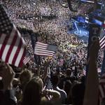 Hillary Clinton arrives on stage at the DNC on Thursday night thumbnail