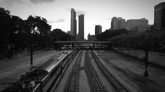 DSCN2594 (mckeenjohn32) Tags: chicago monochrome city urban blackandwhite cityscape skyline train dark dramatic road building skyscraper dirty