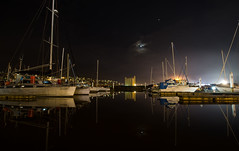 where the night finds me (keith midson) Tags: launceston tasmania night evening boats yachts marina silos moon sky reflection tamar tamarriver