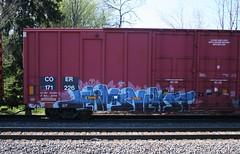 Jerms/Nekst (quiet-silence) Tags: railroad art train graffiti railcar boxcar graff d30 freight nekst fr8 coer jerms a2m coer171226