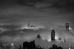 Cloud City Hong Kong (jus.tin) Tags: china travel hk cloud white mountain black fog night canon buildings island eos am asia long exposure peak overcast tourist hike hong kong and  ifc humid 6d hksar