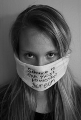 Silent Scream (katieoliver37) Tags: blackandwhite white black girl model message voice silence scream therapy powerful meaning abuse psa listen abusive