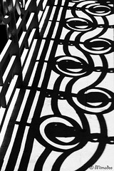 railing shadows (Mimadeo) Tags: bridge light shadow blackandwhite white abstract black lines architecture puente outdoor gray nobody line handrail abstraction banister railing deusto puentededeusto
