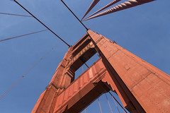 Golden Gate Bridge - South Tower (2) (kentsmith9) Tags: bridge blue red orange canon eos golden bay gate san francisco paint suspension steel towers cables 1dx ef28300l