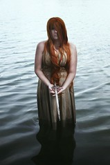 Week 48: Water (Rachel.Adams) Tags: portrait lake wet water fairytale dark magic medieval redhead fantasy wig sword darkwater redhair legend kingarthur ladyofthelake darkfairytale 52weekproject