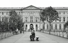 Waiting for the Bastille Day flyover - Pont des Arts, Paris (Monceau) Tags: quatorzejuillet bastilleday 2016 paris pontdesarts louvre blackandwhite quiet