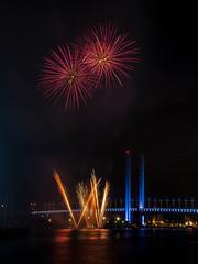 Docklands Winter Fireworks (Scottmh) Tags: bridge reflection water river lights nikon colorful long exposure fireworks outdoor australia melbourne places victoria explore yarra docklands colourful bolte explored d7100