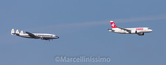 Swiss  Bombardier CSeries CS100 and Breitling  Lockheed L-1049F Super Constellation (Marcellinissimo) Tags: zrh zurichairport swiss bombardier cseries cs100 hbjba breitling lockheed l1049f super constellation hbrsc connie