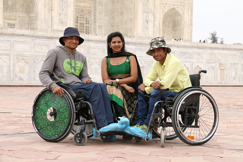 Group of friends enjoying the accessible tour of Agra