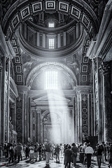 The Light. (Bill Thoo) Tags: stpetersbasilica stpeters vatican rome light interior basilica rays travel architecture italy sony a900 alpha900 2470mm blackandwhite monochrome ngc