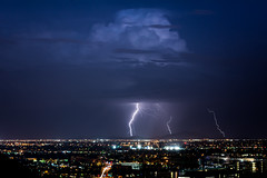 Tempe Lightning (EvanJawnson) Tags: storm stormchaser stormchasing lightning clouds blue night nighttime longexposure tempe arizona az nikon nikond7100 d7100 50mm niftyfifty city cityscape desert desertstorm monsoon