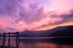 one of (cara zimmerman) Tags: japan sunset lake lakekawaguchiko outdoor reflection colors beautiful stunning travel longexposure le fuji mountains layers