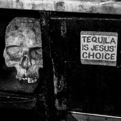 Tequila is Jesus' choice (Alain Dutertre) Tags: bnw blackandwhite streetphotography tequila bar paris lefanfaron skull