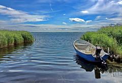 das blaue boot (Wunderlich, Olga) Tags: boot wasser wind himmel wolken insel grn blau rgen spiegelung deu schilf mecklenburgvorpommern leine seegras heiter ummanz kubitzerbodden