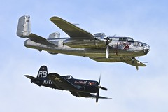 Flying Bulls: B-25 Mitchell and Chance Vought F4U-4 Corsair, Flying Legends, 2016 (Peter Cook UK) Tags: show flying air bulls airshow legends duxford corsair chance mitchell b25 2016 f4u4 vought