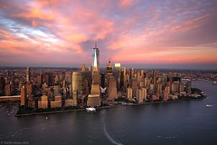 Manhattan Fly-By (Tim McManus) Tags: city freedom nyc new york aerial center clouds dusk helicopter landscape manhattan sky skyline sunset tower trade world wtc