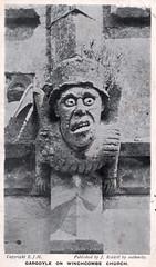 Winchcombe Church - Gargoyle (pepandtim) Tags: postcard old early nostalgia nostalgic 37wcg52 winchcombe church gargoyle ejm riddell 15071909 1909 evans alma crescent vauxhall birmingham pals canned livener bloke back walk around martin