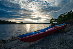 Kayaking (jarnasen) Tags: sunset sky copyright nature water island evening rocks kayak fuji sweden outdoor dusk exploring tripod wideangle hike kayaking sverige kayaks stergtland xm1 jrnlunden fujifilmxm1 samyang12mmf2 jarnasen jrnsen rgn
