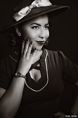She Shines in Darkness... (Ring of Fire Hot Sauce 1) Tags: cosplay agentcarter adriarenee blackwhite monochrome filmnoir longbeachcomicexpo lbce portrait glamour