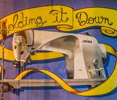 stop holding it down (pbo31) Tags: sanfrancisco california nikon d810 color july 2016 summer boury pbo31 urban night dark washburnstreet howardstreet hold down mural art sewingmachine yellow purple soma panoramic large stitched panorama juki