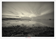 The Deserted Sea (Damon   Photography) Tags: sea deserted bw monochrome kuwait sunset doha