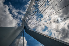 Erasmus Bridge & clouds @ Rotterdam (PaulHoo) Tags: rotterdam city urban holland netherlands 2016 nikon d700 erasmus bridge sky clouds architecture art lines angle wideangle contrast blue