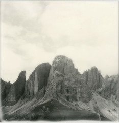 P067 (charlesguerin) Tags: ip impossibleproject mountains sx70 model2 sassolungo alpes landscape bw passodisella