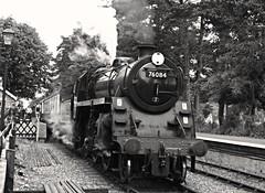 4MT 2-6-0 - 76084 (lcfcian1) Tags: uk england blackandwhite bw heritage station train blackwhite north norfolk railway trains line poppy rails holt 260 4mt northnorfolkrailway nnr poppyline heritagerailway 76084 holtstation 4mt26076084