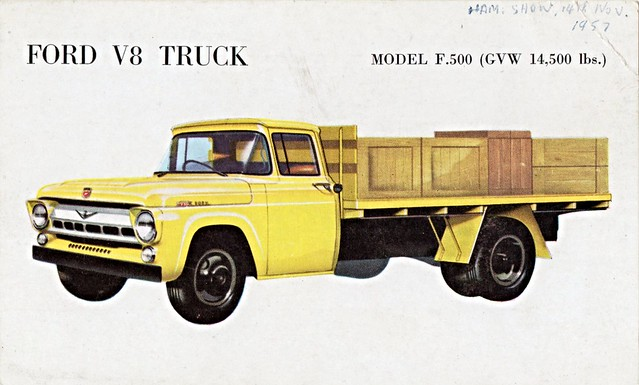 ford truck model postcard australia flatbed f500