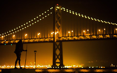 Quest for Meaning (Thomas Hawk) Tags: sanfrancisco california bridge usa silhouette statue night unitedstates fav50 unitedstatesofamerica baybridge ghandi fav10 fav25