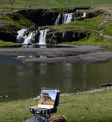 Artist's work (katrin glaesmann) Tags: painting waterfall iceland snfellsnes kirkjufellsfoss unterwegsmiticelandtours photographyholidaywithicelandtours