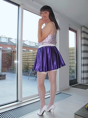 Long legs (Paula Satijn) Tags: hot sexy stockings girl smile happy pumps highheels purple legs sweet silk adorable skirt tgirl transvestite heels satin miniskirt gurl silky